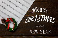 text Merry Christmas and Happy new year and Christmas m Stock Image
