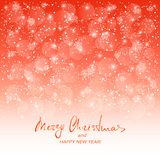 Text Merry Christmas and Happy New Year on red snowy background Stock Photography