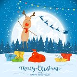 Reindeer on Winter Background with Gifts and Christmas Lights. Text Merry Christmas and Happy New Year on winter background with falling snow and happy reindeer vector illustration