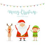 Text Merry Christmas and Happy Santa with Reindeer and Cute Elf royalty free illustration