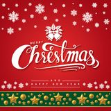 Text of Merry Christmas on red background. Stock Photo