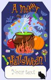 Text of a merry Halloween with skeleton hand and sweets. Vector. Vector image of pumpkin, bowler and hand of skeleton, candy, apples with an inscription of Stock Image
