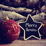 Text merry xmas in a star-shaped blackboard, filtered Stock Photography