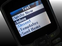 Text message. The text message display of a new cell phone Royalty Free Stock Photo
