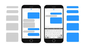 Text message boxes on smartphone screen. Empty text bubbles set Dialog bubles Messaging interface with qwerty keyboard and realistic  modern mobile phone Stock Photography
