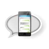 Text message communication on a smartphone. Royalty Free Stock Images
