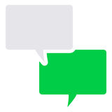Text message icon. Glyph - Green and grey Stock Illustration