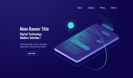 Text message isometric, mobile chat dialog, messenger concept, mobile phone keyboard, chatbot, support online, feedback. Application dark neon vector background vector illustration