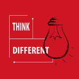 Text message think different bulb creativity ideas inspiration concept background Royalty Free Stock Photography