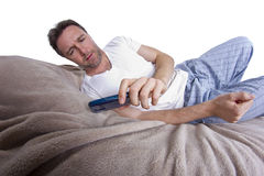 Text Messages in Bed Stock Image