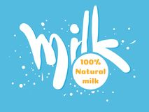 Text milk for dairy advertising and ideas. Stock Image