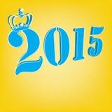 Text 2015 mit Krone auf gelbem Hintergrund Stockfotografie