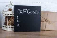 Text mit 2017 Zielen auf einer schwarzen Tabelle Lizenzfreie Stockfotos