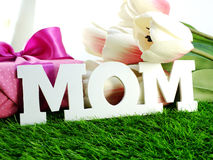 text mom word copy with gift and fllower Stock Image
