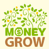 Text money grow. On background of green plants and gold coins Royalty Free Stock Photo