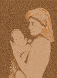 Text mother and baby. Mother and baby drawn with text on brown background. Collage picture Stock Images