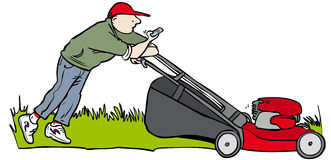 Text and mow. Man texting and mowing the lawn Stock Photography