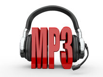 Text MP3 and handphones. 3d Royalty Free Stock Images