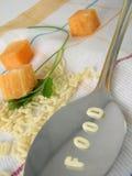 Text-Nahrung gebildet von den Suppe-Zeichen stockfoto