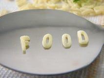 Text-Nahrung gebildet von den Suppe-Zeichen lizenzfreies stockbild