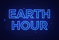 Text in neon style to the Earth Hour royalty free stock image