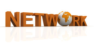 TEXT network WITH EARTH Stock Photo