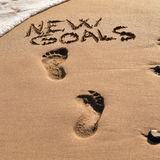 Text new goals in the sand of a beach Stock Images