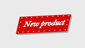 Text: new product. Transparent background with flying inscription, animation video. Clip vector illustration