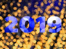 Text of 2019 new year with bokeh background. Text of 2019 new year with bokeh light background stock photography