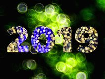 Text of 2019 new year with bokeh background. Text of 2019 new year with bokeh light background royalty free stock images