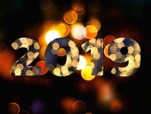 Text of 2019 new year with bokeh background. Text of 2019 new year with bokeh light background royalty free stock photo