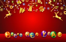 Text of New Year and Christmas festival celebration. Red background and gold elements on copy space which were design for decorative xmas tree,greeting card and stock illustration