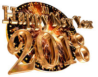 Text with a new year 2018 and a clock on a white background Royalty Free Stock Image