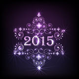2015 text for New Year and Merry Christmas celebration. Beautiful shiny text of 2015 with floral design on purple background for Happy New Year and Merry royalty free illustration