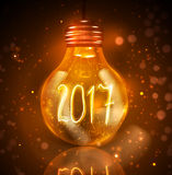 Text for new year 2017 numbers written in lamps Royalty Free Stock Images