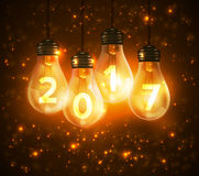 Text for new year 2017 numbers written in lamps Stock Images
