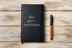 Text new years resolutions in a notebook Royalty Free Stock Photo
