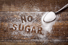 Text no sugar written with sugar Royalty Free Stock Image
