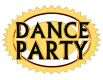 Text o dance party em um círculo dourado em um fundo branco Ilustração do Vetor