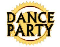 Text o dance party em um círculo dourado em um fundo branco Ilustração Stock