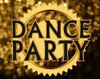 Text o dance party em um círculo dourado em um fundo brilhante Ilustração Stock