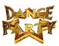 Text o dance party em uma estrela dourada em um fundo branco Fotografia de Stock