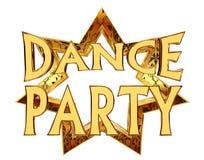 Text o dance party em uma estrela dourada em um fundo branco Imagem de Stock