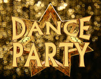 Text o dance party em uma estrela dourada em um fundo brilhante Fotos de Stock Royalty Free