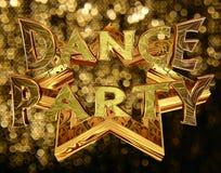 Text o dance party em uma estrela dourada em um fundo brilhante Imagens de Stock Royalty Free