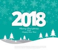 Text o estilo 2018 de papel do Natal no Feliz Natal e em novo feliz Imagens de Stock Royalty Free