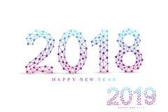 Text o Natal do projeto e o ano novo feliz 2018 e 2019 ilustração do vetor