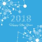 Text o Natal do projeto e o ano novo feliz 2018 Molécula gráfica e comunicação do fundo Linhas conectadas com pontos Fotos de Stock