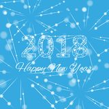 Text o Natal do projeto e o ano novo feliz 2018 Molécula gráfica e comunicação do fundo Linhas conectadas com pontos ilustração royalty free