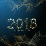 Text o Natal do projeto e o ano novo feliz 2018 Uma comunicação gráfica do fundo Linhas conectadas com pontos Projeto ilustração royalty free